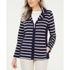 Karen Scott Petite Striped Knit Jacket Navy PL